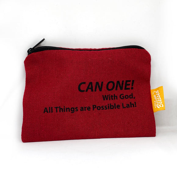 "Canvas coin pouch 13x9cm CAN ONE! (""I'm a Singaporean Christian Lah!"" series)"