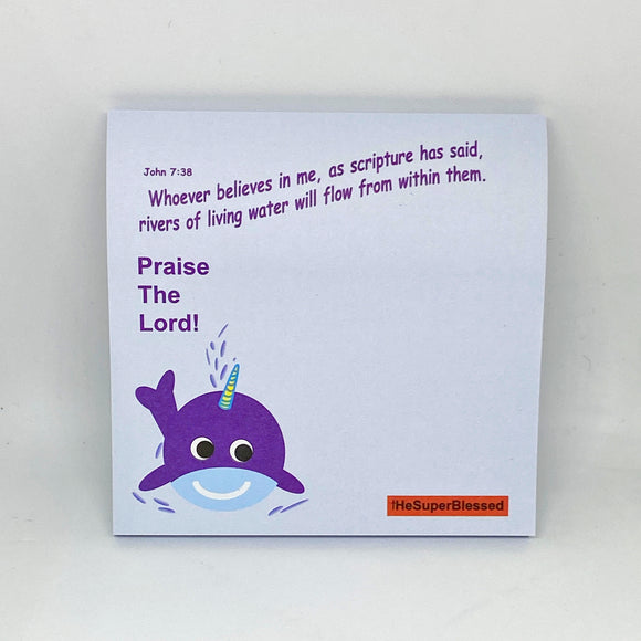 Cute Sticky Notes- UniWhaley Praise the Lord! (blue)