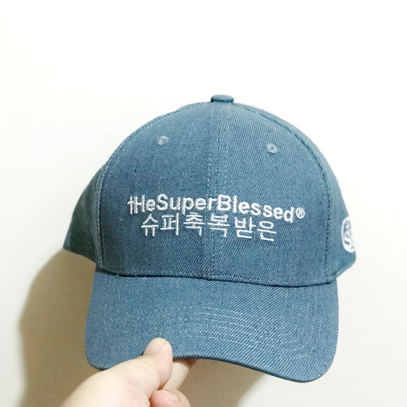 tHeSuperBlessed Logo Denim blue baseball cap