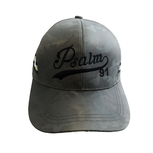 Psalm 91 grey camouflage cap with reflective stripes