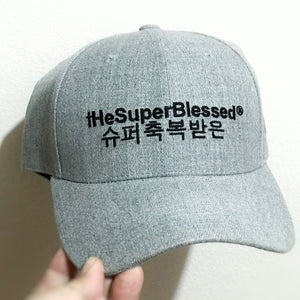 tHeSuperBlessed Logo Heather Grey baseball cap