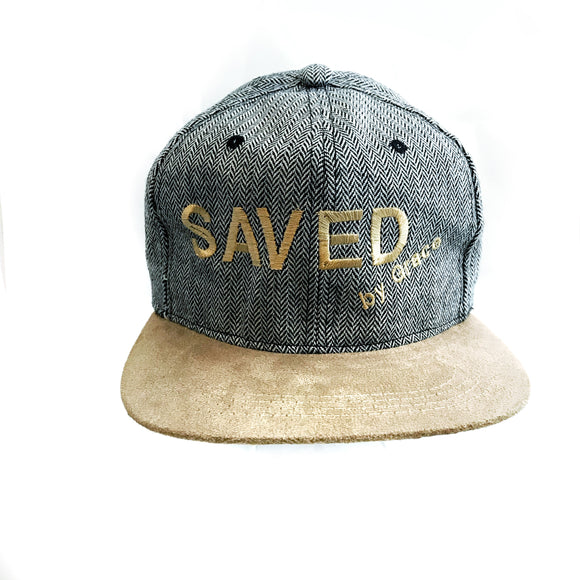 Saved by Grace black prints and brown visor cap