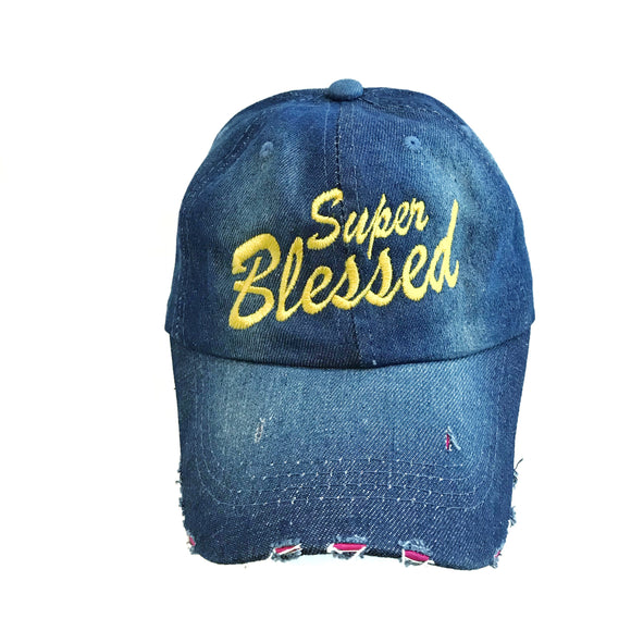 Super Blessed yellow Denim Christian Cap