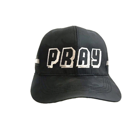 PRAY Black Camou reflective strips Christian Cap