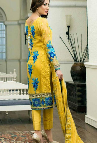 Yellow Chiffon Designer Suit 41750