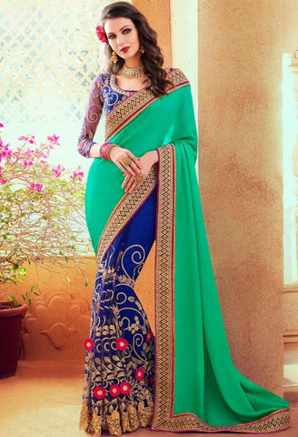 Green Georgette, Satin Saree 41990