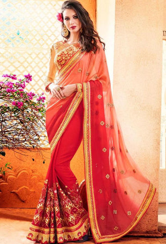 Pink Georgette Saree 41994
