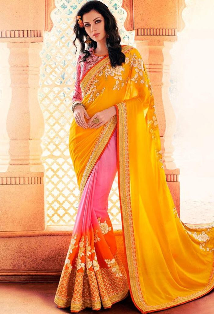 Yellow Georgette Saree 41997