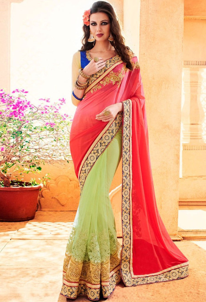 Red Georgette, Net Saree 41998.