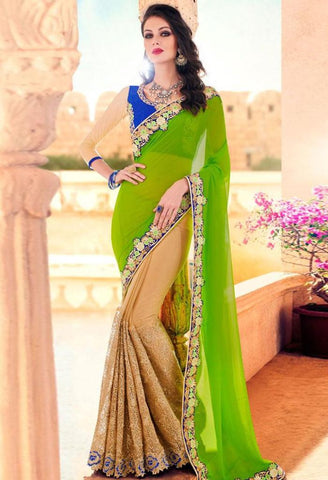 Green Georgette, Lycra Saree 42000