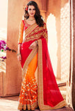 Red Georgette, Net Saree 42001
