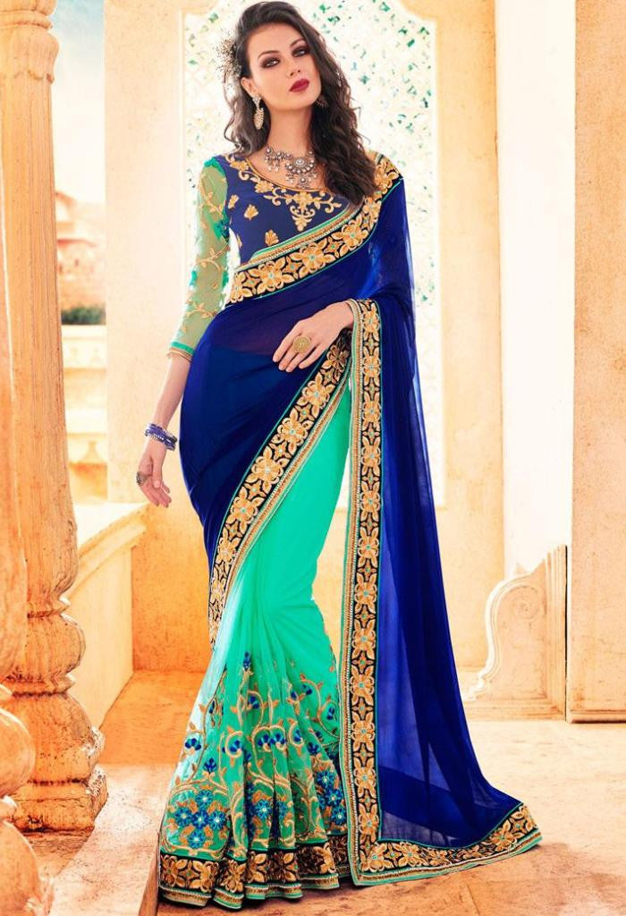 Navy Georgette, Net Saree 42002
