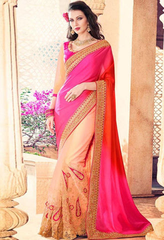 Pink Georgette, Satin Saree 42003