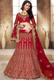Red Raw Silk Designer Lehenga 42103