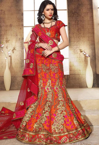 Orange Raw Silk Designer Lehenga 42104