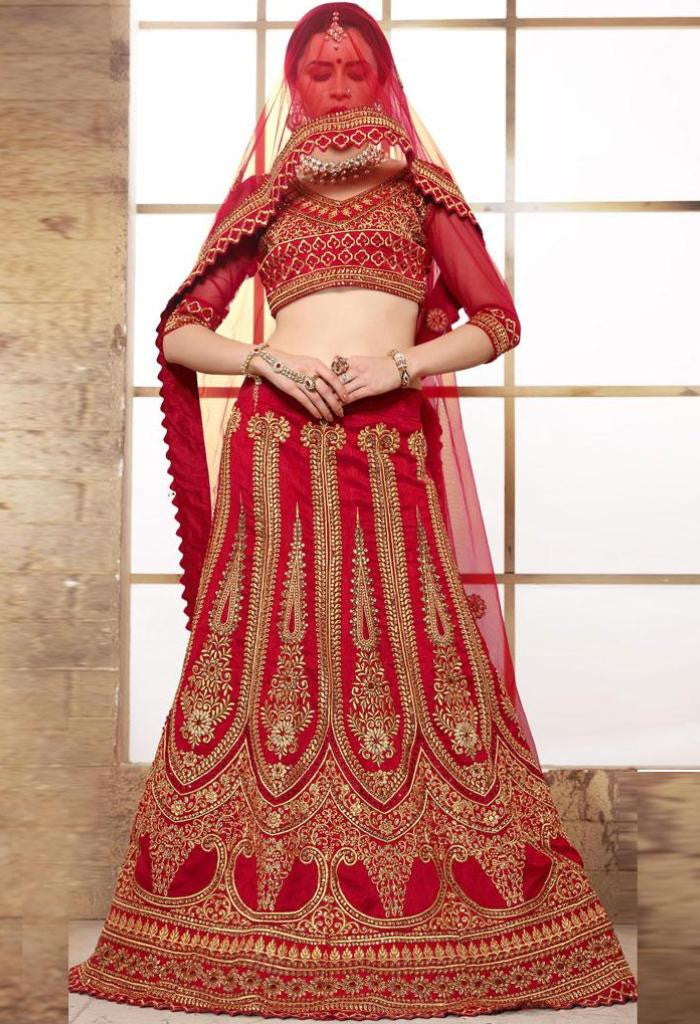 Red Raw Silk Designer Lehenga 42107