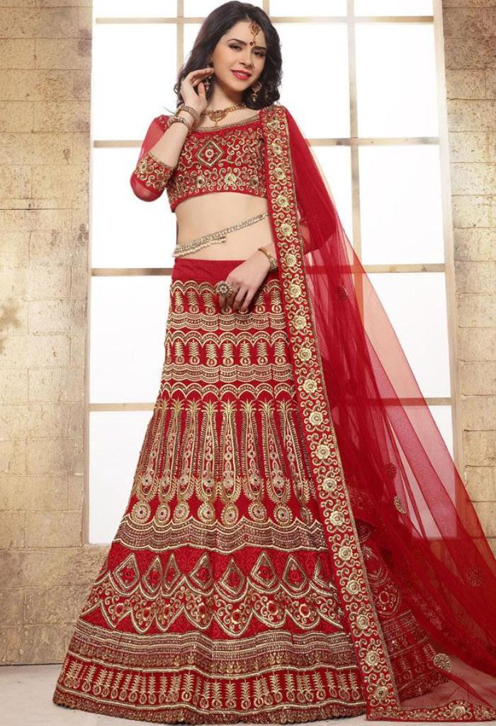 Red Raw Silk Designer Lehenga 42111
