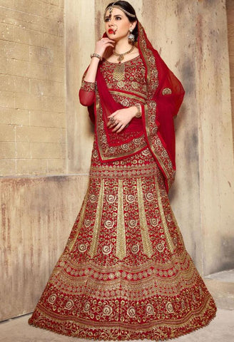 Red Raw Silk Designer Lehenga 42114