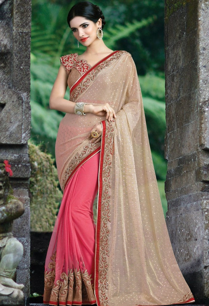 Pink Lycra, Net Embroidered Saree 9171
