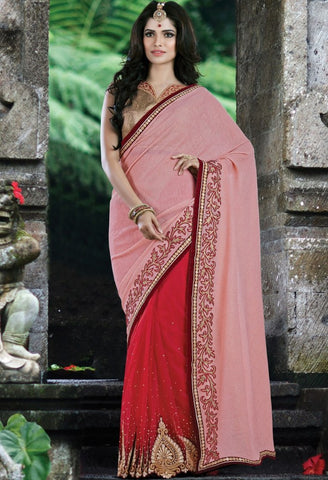 Red Lycra, Net Embroidered Saree 9172