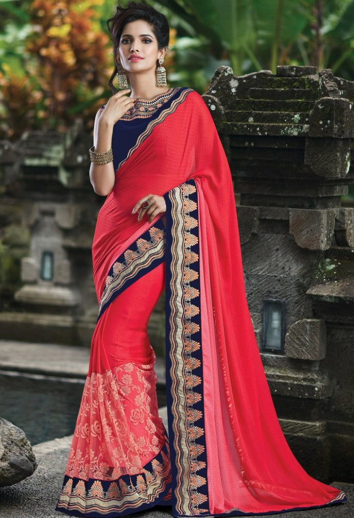 Red Jacquard Embroidered Saree 9173