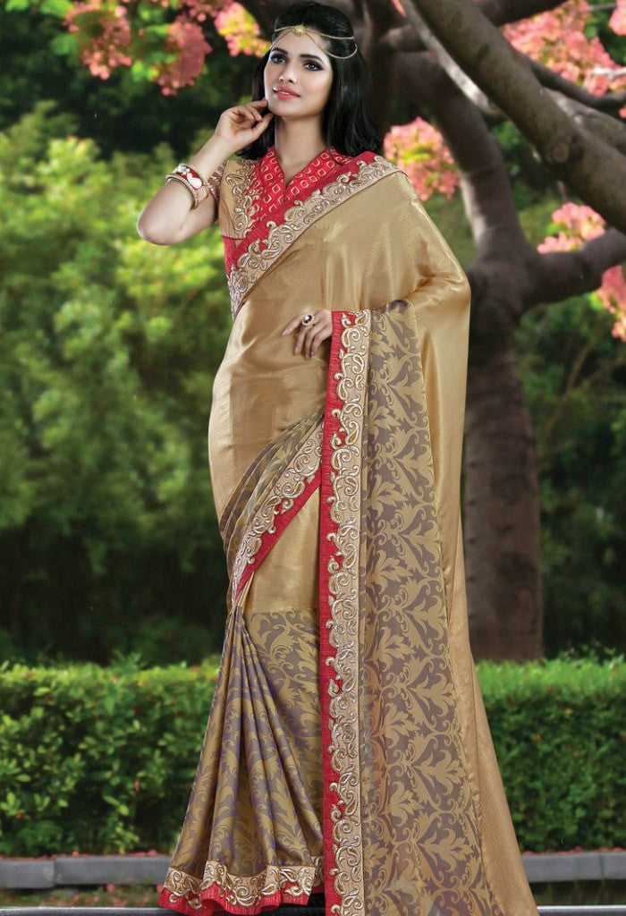 Gold Satin, Chiffon Embroidered Saree 9174