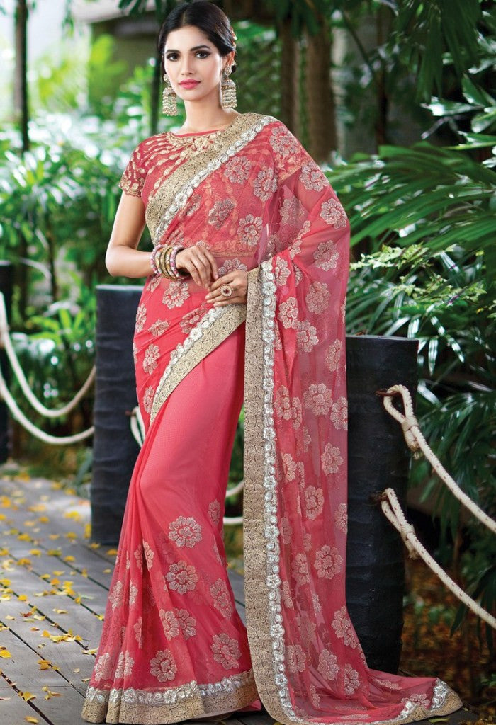 Pink Net Embroidered Saree 9175