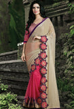 Pink Lycra, Net Embroidered Saree 9176