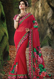 Red Georgette, Velvet Embroidered Saree 9177