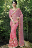 Pink Lycra, Net Embroidered Saree 9178