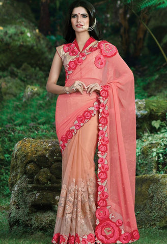 Peach Georgette, Net Embroidered Saree 9179