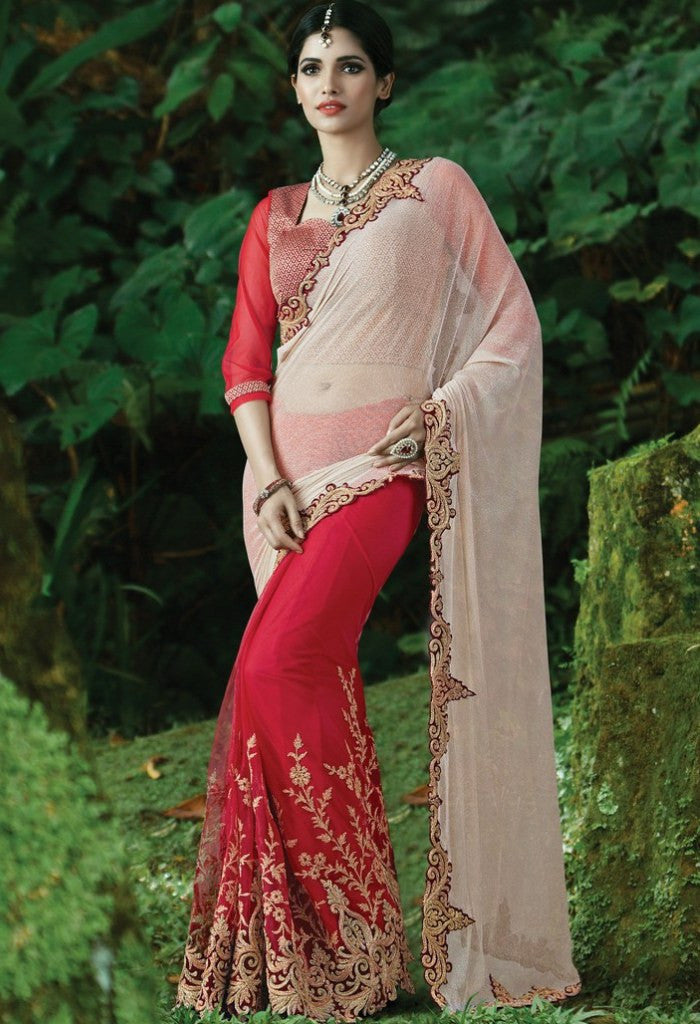 Red Lycra, Net Embroidered Saree 9180