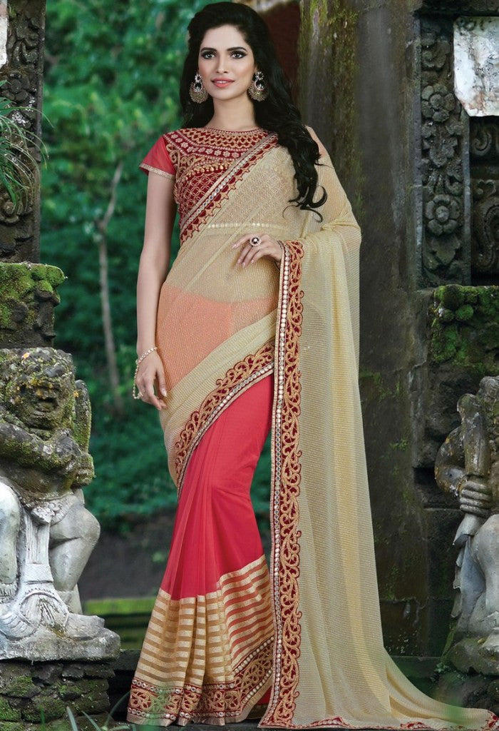 Red Lycra, Net Embroidered Saree 9181