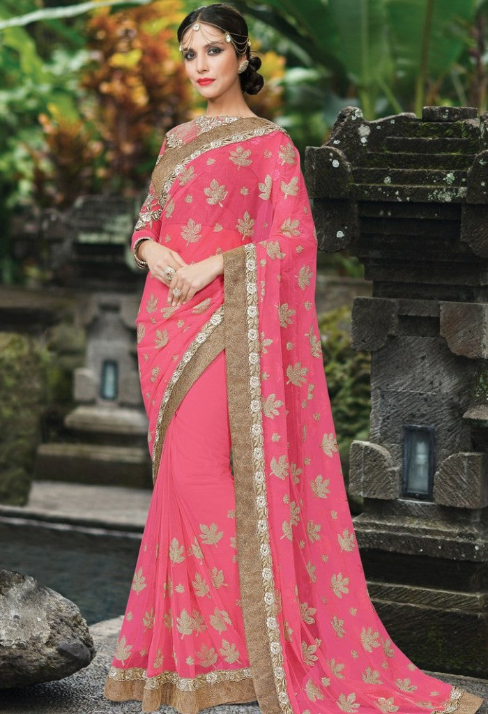Pink Net Embroidered Saree 9182