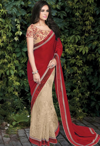 Beige Net, Silk Embroidered Saree 9183