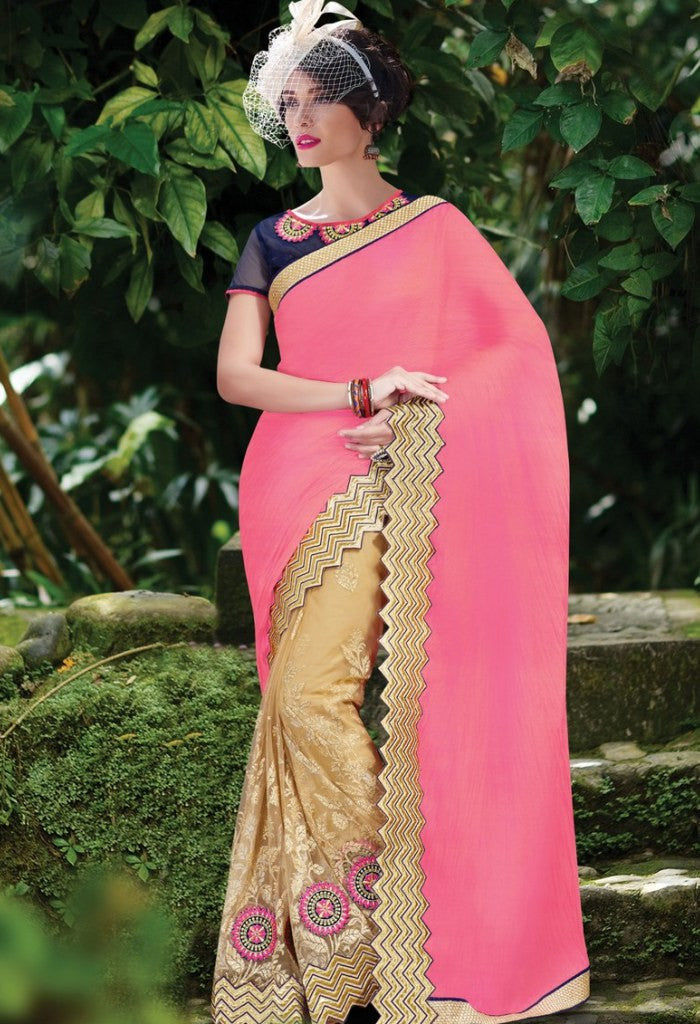 Gold Chiffon, Net Embroidered Saree 9184