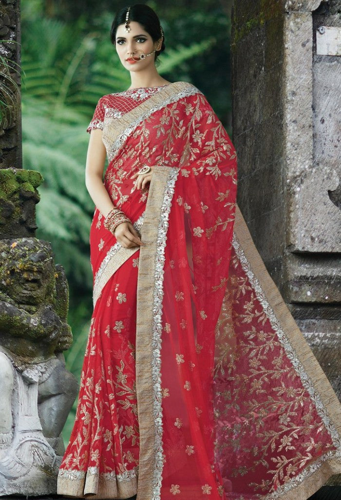 Red Net Embroidered Saree 9186