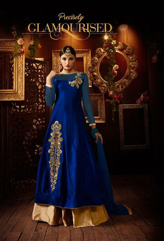 Taffeta Silk Top With Zari Work & Taffeta Silk Lehenga