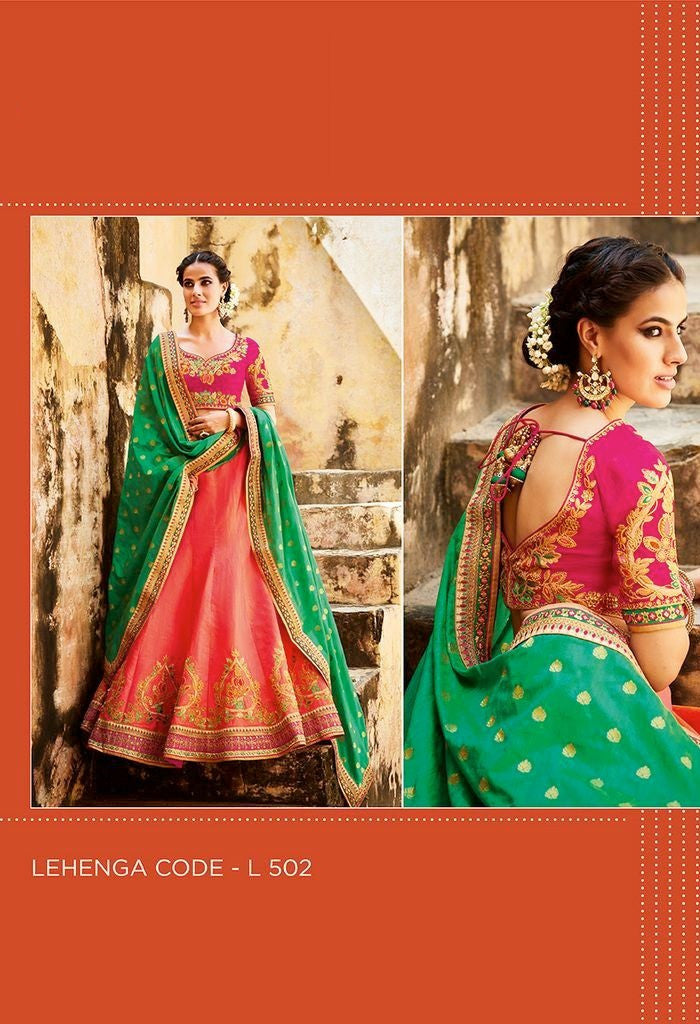 Tussar Silk Embroidered Lehenga & Tussar Silk Blouse