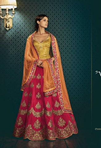 Rani Paris Silk In Skirt With Butta Embroidery Lehenga