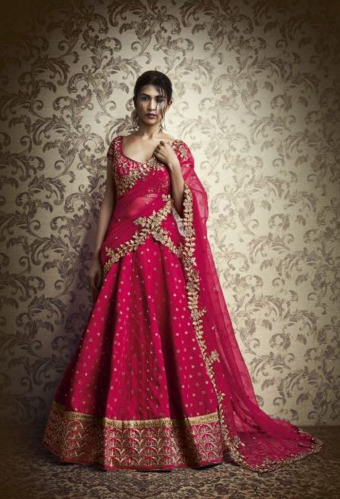 Pink Paris Color Lehenga With Geometrically Embroidered