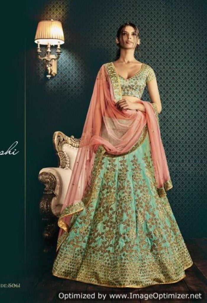 Sea Green Bhagalpuri Skirt With Embroidered Lehenga