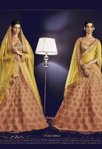 Skirt in Italian Silk Peach Colored Embroidered Lehenga