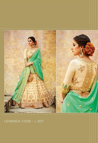 Silk Jacquard Embroidered Lehenga & Tussar Silk Blouse