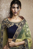 Navy Blue Velvet Lehenga With Floral Heavy Embroidery