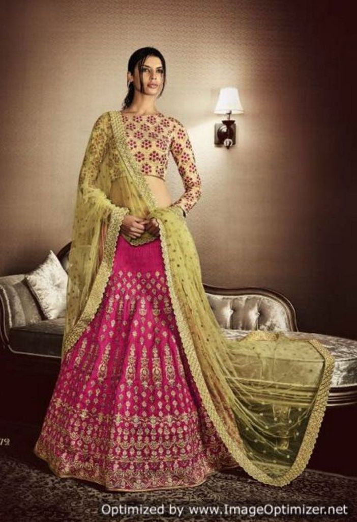 Contrast Pink Bhagalpuri In Skirt Embroidered Lehenga