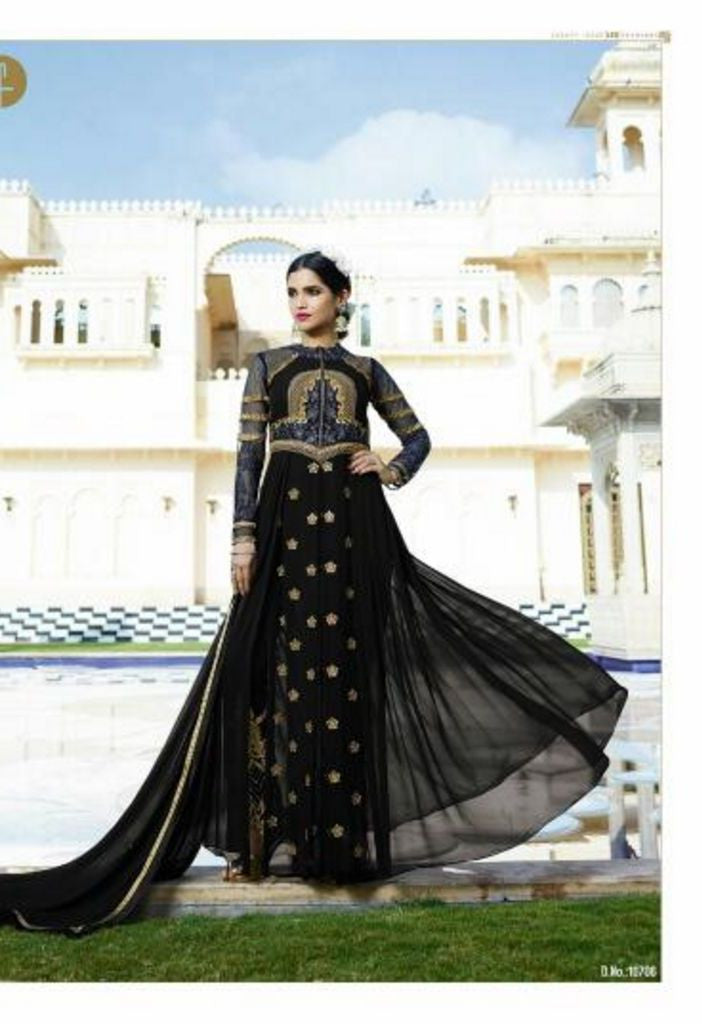 Black Royal Georgette Salwar With Chiffon Dupatta