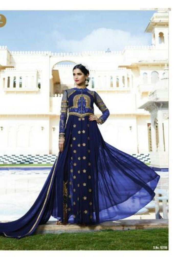 Blue Royal Georgette Salwar With Chiffon Dupatta