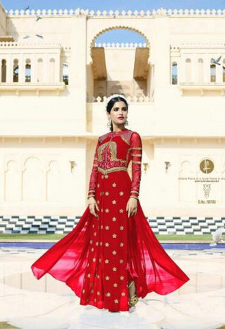 Red Royal Georgette Salwar With Chiffon Dupatta