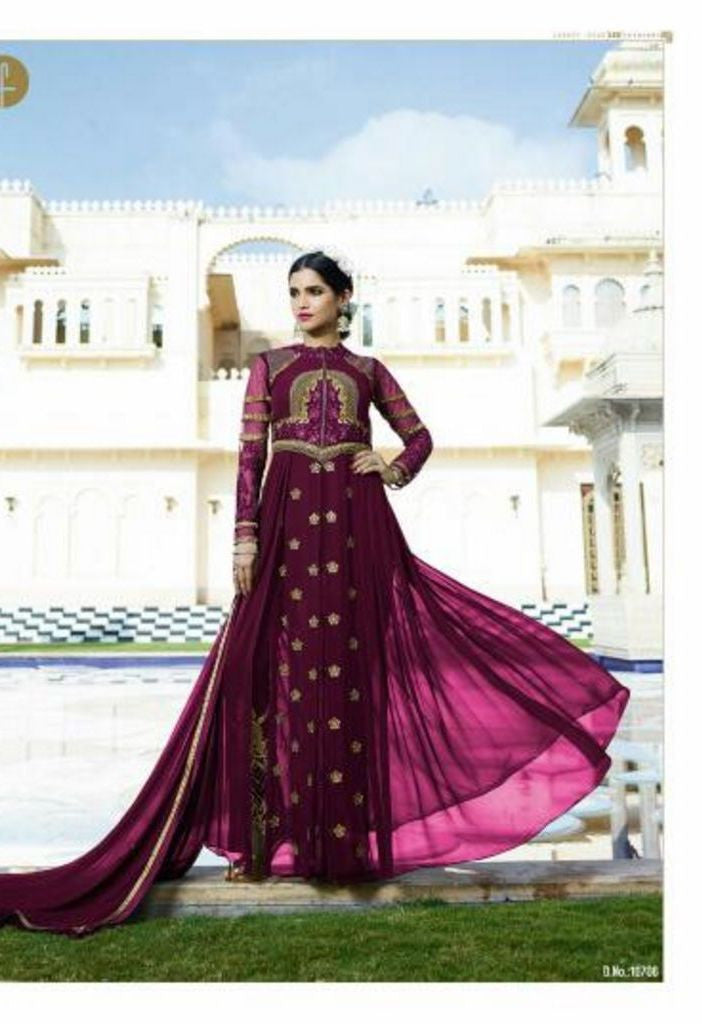 Wine Royal Georgette Salwar With Chiffon Dupatta